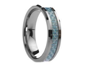 6 mm Mens Raised Sky Blue Carbon Fiber  - Includes Engraving - Size 4 - 13