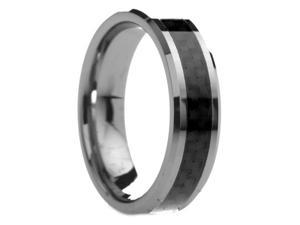 6 mm Mens Tungsten Carbide Ring Black Carbon Fiber Inlay - Includes Engraving - Size 5 - 13