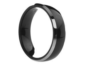 6 mm Mens Black Tungsten Carbide Rings Polished Two Tone - Includes Engraving - Size 4 - 13
