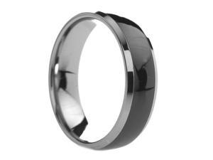 6 mm Mens Tungsten Carbide Rings Black Ceramic Inlay - Includes Engraving - Size 6 - 13