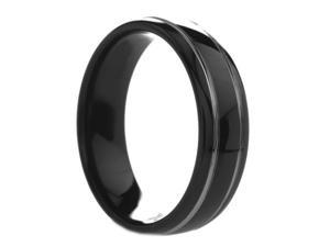 6 mm Mens Round Black Tungsten Ring Offset Grooves  - Includes Engraving - Size 4 - 12.5