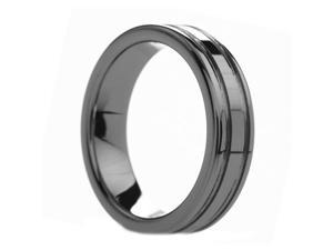 6 mm Mens Tungsten Carbide Rings Dual Offset Grooves - Includes Engraving - Size 4 - 11