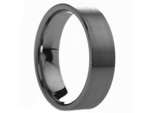 6 mm Mens Pipe Cut Brush Finish Tungsten Ring - Includes Engraving - Size 4 - 14
