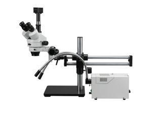 AmScope 3.5X-180X Ball Bearing Stereo Trinocular Microscope with Fiber Optic Y-Shape Lights + USB Camera
