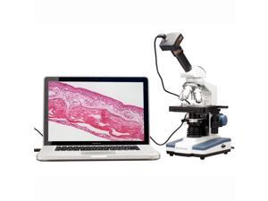 40X-2000X Double Layer Mechanical Stage LED Compound Microscope + 8MP USB Camera