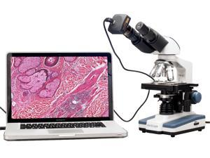 40X-2000X LED Binocular Digital Compound Microscope w 3D Stage and USB Camera
