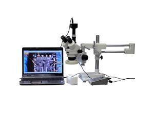 3.5X-90X Boom Stand Stereo Microscope with 8-Zone 80-LED Light + 5MP USB Camera