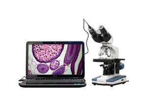 40X-2500X LED Digital Binocular Compound Microscope w 3D Stage +1.3MP USB Camera