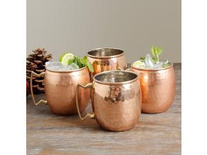 Moscow Mule Solid Copper Mug 16 oz -Hammered (Pack of 4)