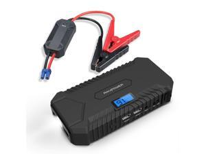 RAVPower Jump Starter 550A Peak Current Portable Charger Car Battery 14000mAh, 4.2A output, LCD Display, Safety Protection, Built-In Flashlight