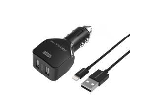 Car Charger RAVPower 24W 4.8A Dual USB Car Charger with 3ft Lightning-to-USB Cable for iPhone SE / 6 / 6s / 6 Plus, iPad Air 2 / Pro / mini 3 and More (Black)