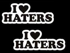 "(2) iJDMTOY 6"" Cool JDM I Love Haters (I Heart Haters) Race Drift Car Die-Cut Decal Vinyl Stickers"