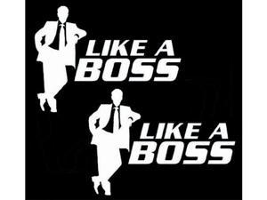 "(Pack of 2) iJDMTOY Cool Funny ""Like A Boss"" Die-Cut Decal Vinyl Stickers"