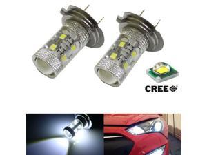 White High Power 50W-Max CREE H7 LED Bulbs For Hyundai On High Beam DRL Lights