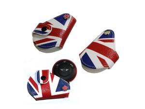 iJDMTOY (1) Red Blue Union Jack UK Flag Style Real Leather Key Fob Cover Holder For 2008-up MINI Cooper R55 R56 R57 R58 R59 R60 R61 F55 F56