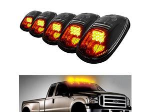 iJDMTOY LED Cab Roof Top Marker Running Lights For Truck SUV 4x4 (Black Smoked Lens Lamps) - 5Pcs