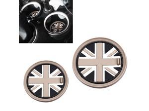 (2) 73mm Black Union Jack UK Flag Style Soft Silicone Cup Holder Coasters For MINI Cooper R55 R56 R57 R58 R59 Front Cup Holders