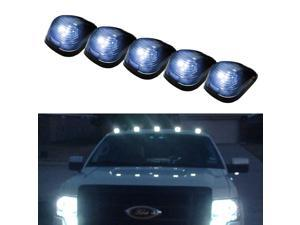 Black Smoked Cab Roof Top Marker Running Lamps w/ Xenon White LED Light Bulbs For Truck Pickup 4x4 SUV - 5pcs