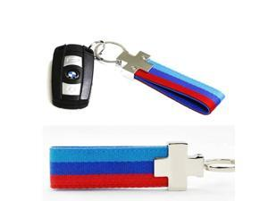 (1) M-Colored Stripe Nylon Band with Inner Leather Key Chain Keychain Ring For Bimmer