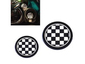 (2) 73mm Black/White Checkered Checkerboard Pattern Soft Silicone Cup Holder Coasters For MINI Cooper R55 R56 R57 R58 R59 Front Cup Holders