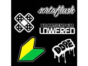 iJDMTOY JDM Wakaba New Driver Badge Leaf Bandaid Sortaflush Hellaflush I'm Lowered Dope iLLest Combo Deal Stickers Decals SET