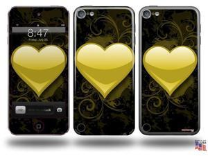 Glass Heart Grunge Yellow Decal Style Vinyl Skin - fits Apple iPod Touch 5G (IPOD NOT INCLUDED)