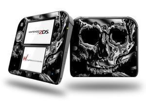 Chrome Skull on Black - Decal Style Vinyl Skin fits Nintendo 2DS