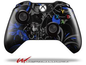 Twisted Garden Gray and Blue - Decal Style Skin fits Microsoft XBOX One Wireless Controller - CONTROLLER NOT INCLUDED