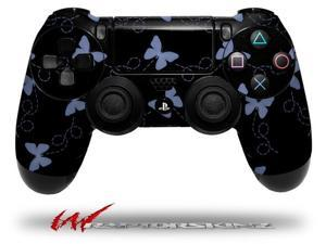 Pastel Butterflies Blue on Black - Decal Style Wrap Skin fits Sony PS4 Dualshock 4 Controller - CONTROLLER NOT INCLUDED