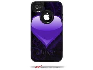 Glass Heart Grunge Purple - Decal Style Vinyl Skin fits Otterbox Commuter iPhone4/4s Case - (CASE NOT INCLUDED)
