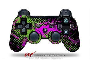 Sony PS3 Controller Decal Style Skin - Halftone Splatter Hot Pink Green (CONTROLLER SOLD SEPARATELY)