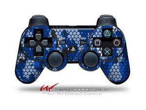 Sony PS3 Controller Decal Style Skin - HEX Mesh Camo 01 Blue Bright (CONTROLLER SOLD SEPARATELY)