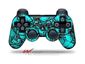 Sony PS3 Controller Decal Style Skin - Scattered Skulls Neon Teal (CONTROLLER SOLD SEPARATELY)