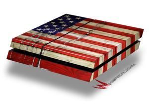 Painted Faded and Cracked USA American Flag - Decal Style Skin fits original PS4 Gaming Console