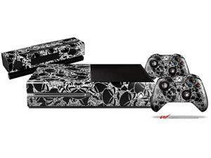 Scattered Skulls Black - Holiday Bundle Decal Style Skin Set fits XBOX One Console, Kinect and 2 Controllers (XBOX SYSTEM SOLD SEPARATELY)