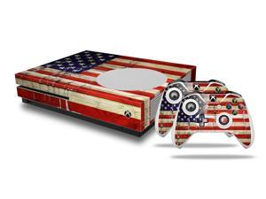 Painted Faded and Cracked USA American Flag Skin Bundle Skin fits XBOX One S Sys