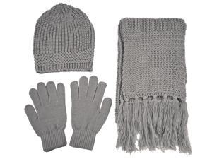 Bundle 12 Pieces Knitted Hat Gloves Scarf Set Winter Hat Gloves and Scarf Women or Men Knit Set