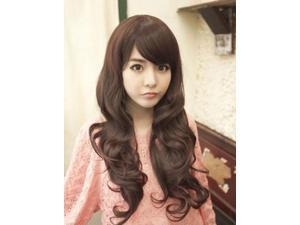 Women's Long Curly Dark Brown Wig with Wavy Side Bang/Fringe