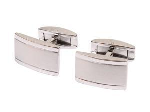 AMC Classic Men's Silver Polish Cuff Links Rectangle Wedding Cufflinks