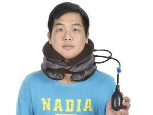 Cervical Air Cushion Neck Traction Collar for Headache, Back, Shoulder Pain - Brown