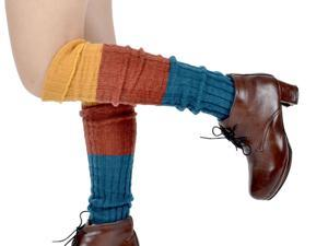 NEW Women's Knee-high Boots Socks Leg Warmers Colorful Stripe Knit Pattern Yellow Blue