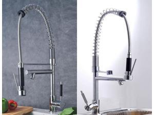 Kitchen/Bar Brass Lever Single Handle Faucet Pull Down Pre-rinse Spring Faucet Tap Two Swivel Spout