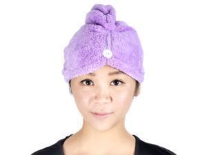 Quick Dry Terry Cloth Turban Purple Spa Microfiber Hair Drying Bath Towel/Cap