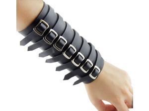 Leather Wrap Around Cuff - Wristband/Bracelet with 7 Buckle Fasteners, Black