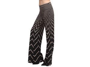 Black Ivory Sexy Aztec Chevron Print High Waist  Knit Palazzo Wide Leg Pants