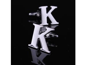 Novelty Personalized Silver Initial Letter Cufflinks for Men Shirt