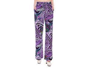 Multicolored Harem Pants Wide Leg Pants Trouser W/ Stretch Waist and Pockets