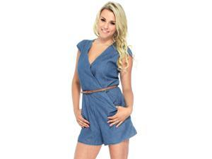 Simplicity Womens Deep V-Neck Bodycon Short Sleeves Jumpsuit One Piece Shorts Romper Playsuit  Pants Bodysuit