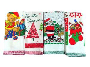 Cotton Face Towel Quick-drying Bath Towel with Christmas Objects Printed Soft Beach Towel