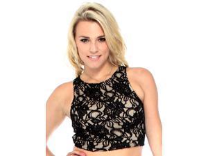 Ladies Trendy Black Lace Tank Top & Skirt Set Crop Top & Skirt Set
